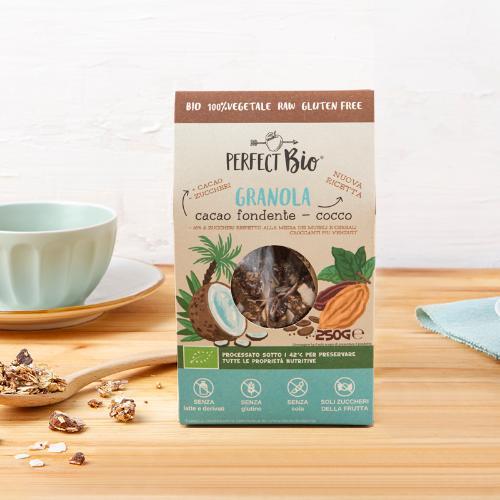 Granola con fave di cacao, goji e cocco BIO