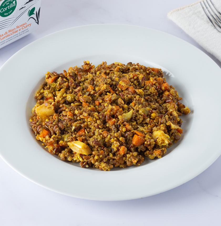 Insalata di quinoa, riso ermes e lenticchie al curry