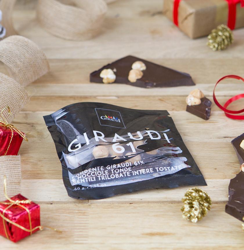 Cioccolato fondente 61% con nocciole Piemonte