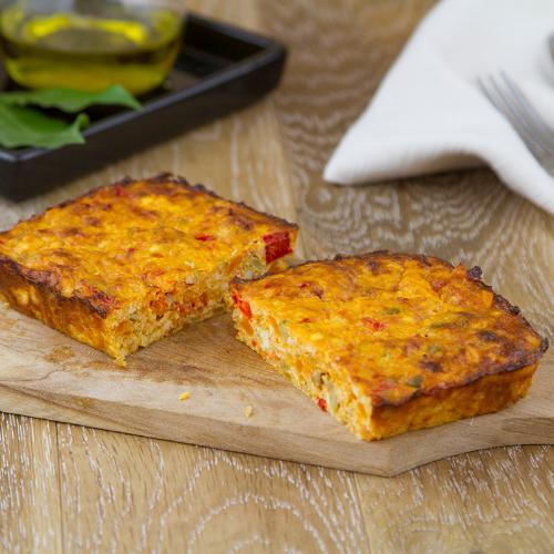 Sformato di peperoni, carote e olive