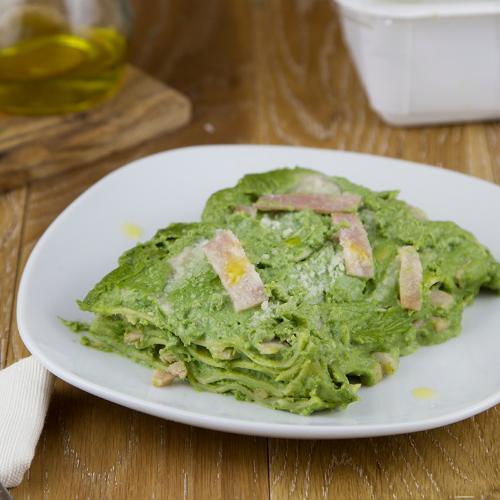 Lasagne alle ortiche e prosciutto